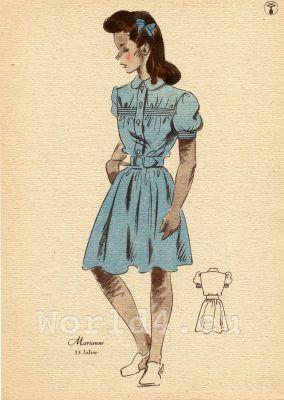 Girl in powder blue, knee-length dress. German Children clothing. Kids vintage costumes. 1940s fashion.