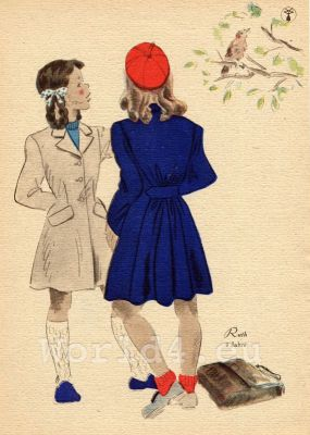 School girls with waisted jacket. German Children clothing. Kids vintage costumes. 1940s fashion.