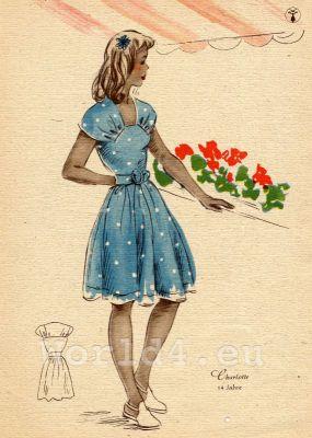 Fancy blue doted teenage dress. German Children clothing. Kids vintage costumes. 1940s fashion.