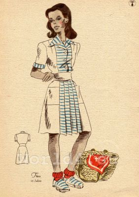 German school girl costumes and hairstyle. What did Teens wear in the 1940's