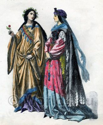 Fashion history. Unmarried Women 15th century.