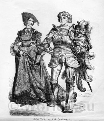 German Knight in armor and Princess. Middle Ages Dresses. Renaissance Fashion. 16th century clothing.