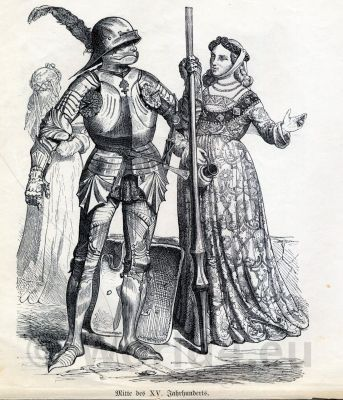 Knight armour. Middle Ages costumes. Military. Gothic fashion history. 15th century clothing.