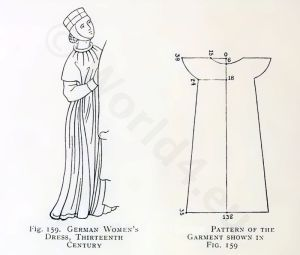 Middle Ages fashion. Gothic costume, with sewing pattern.