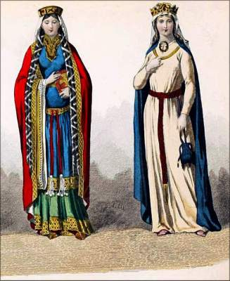 Middle Ages, 11th century, clothing, Carolingian, Queen, court dresses,.