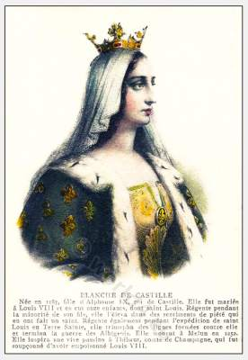 Blanche, Castille, Middle Ages, Queen, costumes. 12th century, Carolingian, fashion