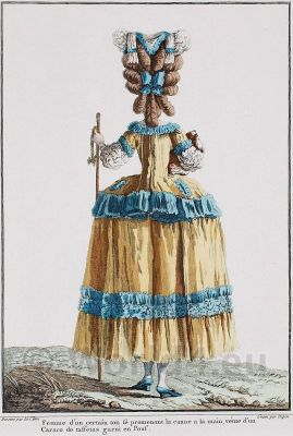 farthingale,Caraco, a´la francaise. French Ancien Régime fashion. French Rococo costumes. Hoop skirt, Farthingale. Le Pouf.