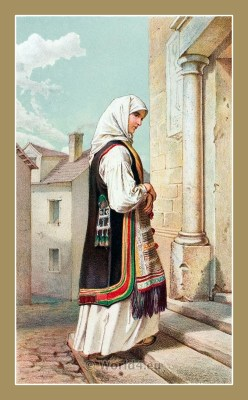 Traditional Serbian National Costumes. Woman Folk dresses from Senj Croatia. ŽENSKA NOŠNJA IZ SENJSKE OKOLICE