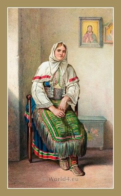 Croatian National Costume. Woman Folk dresses from Benkovac Croatia. ŽENSKA NOŠNJA IZ BENKOVCA.