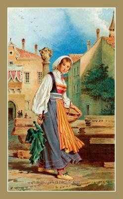 Traditional Serbian National Costumes. Woman Folk dresses from Rovinj Santa Eufemia Croatia. ŽENSKA NOŠNJA IZ SUTOMIŠĆICA
