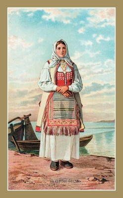 Traditional Serbian National Costumes. Woman Folk dresses from Senj Croatia. DJEVOJKA IZ SENJSKE OKOLICE