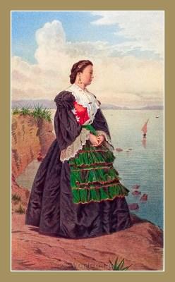 Traditional Serbian National Costumes. Woman Folk dress from Split Croatia. DJEVOJKA IZ SPLITA
