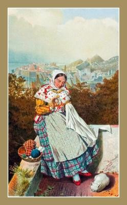 Traditional Serbian National Costumes. Woman folk dress from Ragusa Dubrovnik Croatia. ŽENSKA NOŠNJA IZ DUBROVNIKA