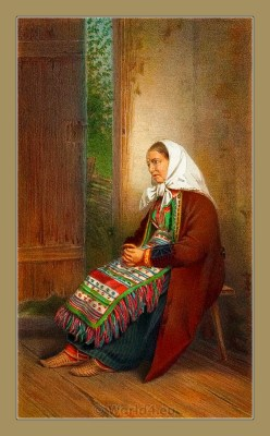 Traditional Serbian National Costumes. Woman Folk Costume from Karlobag Croatia. ŽENSKA NOŠNJA IZ KARLOBAGA
