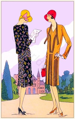 Créations de Couturiers Mag-Helly and Joseph Magnin. Art deco costumes. Flapper fashion Model of Nostalgie - Mascotte. French 1920s clothing.
