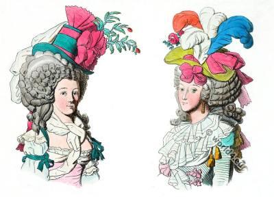 Fashion under the French Revolution. Coiffure dite sans redoute. Coiffure dit à la nation.