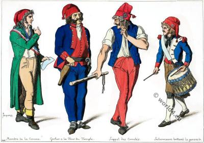 French Revolution costumes. Member of the commune. 18th century fashion