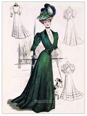 Belle Epoque Autumn costume. Art nouveau costumes. Gibson Girl fashion.