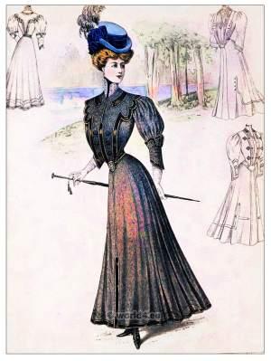 Heathered overdye cloth. Belle Epoque costumes. Art nouveau fashion. Sans-Ventre-Corset.