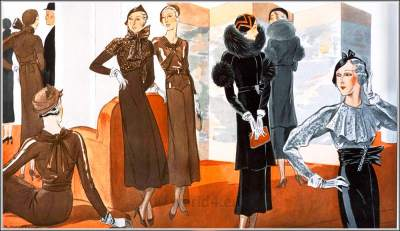 1940s vintage haut couture fashion. French art deco costumes 1933. Cocktail dresses