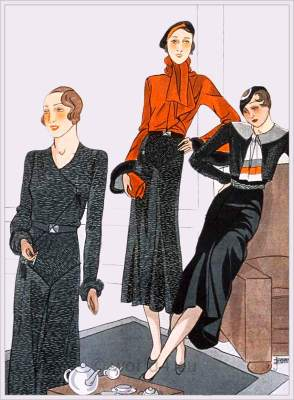Maggy Rouff and Jenny. Vintage haut couture fashion. French art deco costumes 1933.