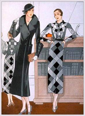 Vntage haut couture fashion. French art deco costumes