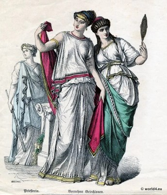 Authentic Greece Priestess and Nobility. The Authentic Ancient Greek Costume.