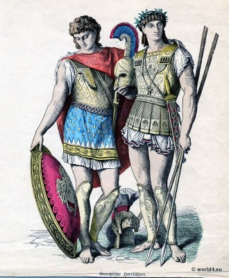 Ancient warriors in armor, shield and sword. Greek costumes of military leaders.