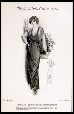 France Fin de siècle fashion. French haute couture gown. Belle Epoque cocktail dress.