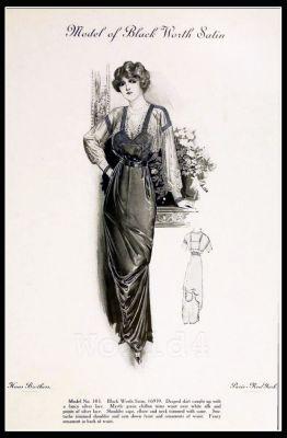 France Fin de siècle fashion. French haute couture gown. Belle Epoque cocktail dress.