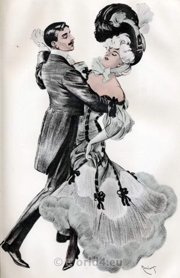 France Fin de siècle fashion. Belle Epoque costumes. Art Nouveau dance gowns.