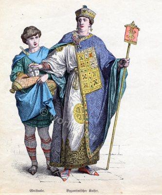 Byzantine fashion history, Emperor costume. Noble boy clothing, Ancient dress