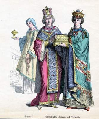 Ancient Byzantine nobility costumes and court dresses.
