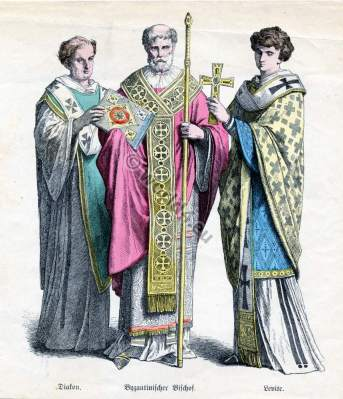 Ancient Byzantine nobility costumes and court dresses. Ecclesiastical clothing.
