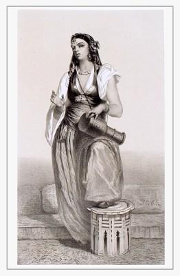 Traditional Egyptian girls dress.  Egypt women costume. Ancient arabian clothing
