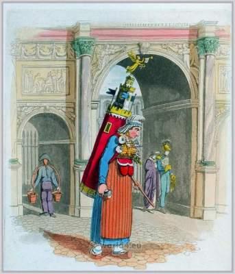 Limonadiere of Paris. French traditional national costumes. Paris female folk clothing.