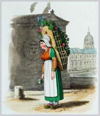 Flower girl. French traditional national dress. Paris female folk clothing.
