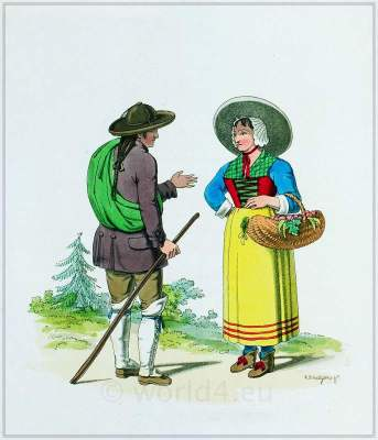 Traditional French national costumes. Mont Cenis mountain. France folk clothing