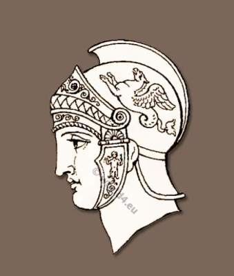 Ancient Grecian headdresses and Grecian helmets of the classical antique.