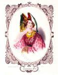 Italian medieval costume. Burgundian dress. Gothic period. Female nobility clothing. Horned hennin.