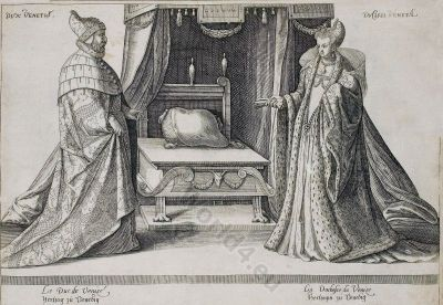 Venice renaissance fashion. Duke. Duchess. 16th century costumes. Italian court dresses. Nobility clothing