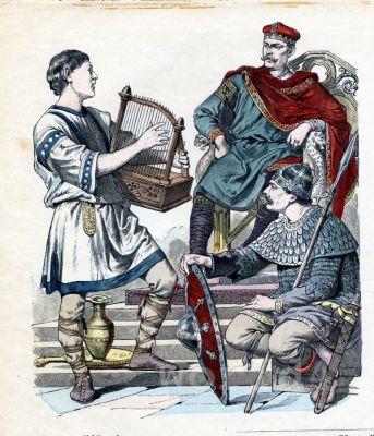 Charles II the Bald. West Frankish king. 9th century costumes. Carolingian fashion period.