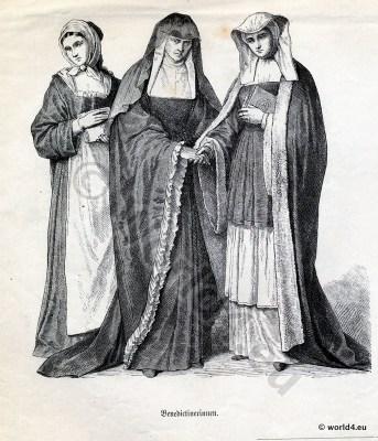 Benedictine nuns costumes. Monastic clothing. Ordo Sancti Benedicti.  Ecclesiastical Dresses.