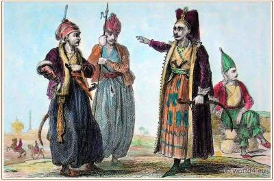 Ottoman Empire soldiers. Janissaries Elite Infantry. Turkish Military dress.