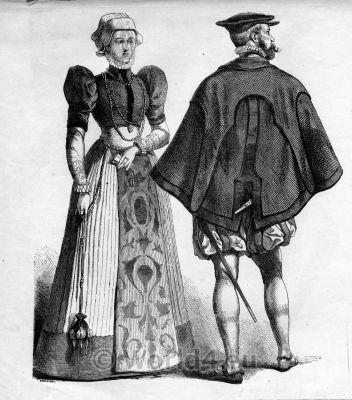 German Townspeople. Renaissance costumes. Fashion 16th century.