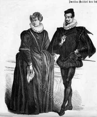 16th century clothing. Middle Ages clothing. Spanish fashion style. German Medieval costumes. Renaissance dresses.