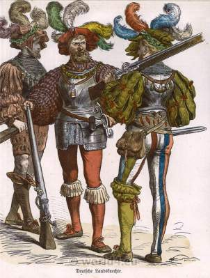 German Lansquenet costumes. Renaissance Military. German Lansquenet