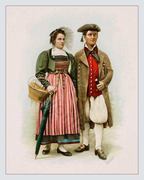 Canton Zurich, Wehntal. Suisse costumes nationaux. Costumes suisses. Switzerland national costumes.