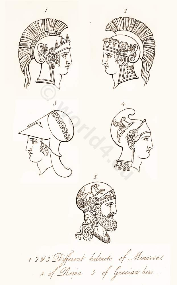 Ancient Roman and Greek helmets and head dresses. Antique Warrior and soldiers uniforms