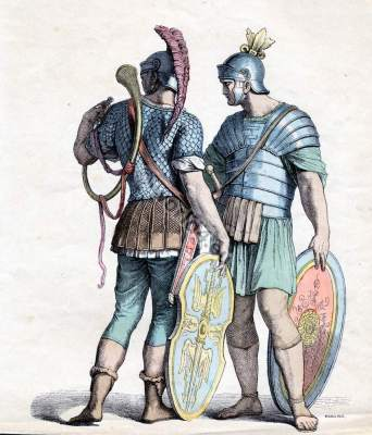 Ancient Roman costumes. Military armor of ancient rome. Roman officers and Legionnaire wearing a Lorica Squamata, and a Laminated Lorica.
